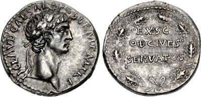 Sestercio de Claudio I. EX SC OB CIVES SERVATOS. Corona cívica de hojas de robles. Roma. 2663252.m