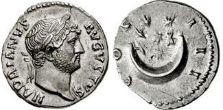 Denario de Adriano. COS III. Creciente con siete estrellas. 181660.m