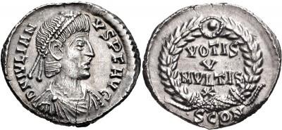 Silicua de Juliano II (el Apóstata). VOTIS V MVLTIS X. Arlés 3286011.m