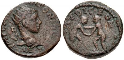 AE19 provincial de Heliogábalo. Laodicea ad Mare, Syria. 3288094.m