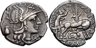 Denario de gens Pompeia. SEX PO(M) (PMO) FOSTLVS ROMA. La loba con los gemeolos. Roma. 4245074.m