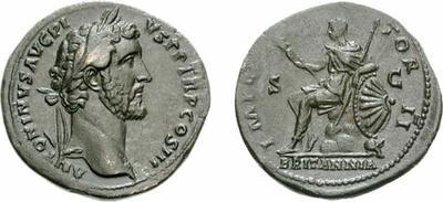 Sestercio de Antonino Pío. Roma sedente a izq. Roma. 277896.m