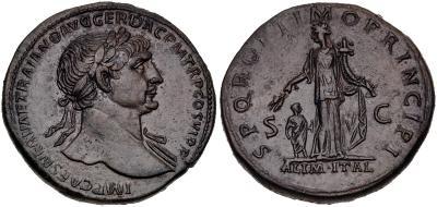 Sestercio de Trajano. SPQR OPTIMO PRINCIPI /ALIM ITAL/ S C. 5621324.m