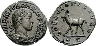 Sestercio de Filipo II. SAECVLARES AVGG. Alce de pie a la izquierda. Roma 351463.m