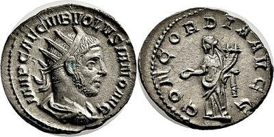 Antoniniano de Volusiano. CONCORDIA AVGG. Roma  2532736.m
