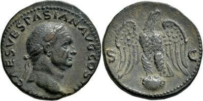 As de Vespasiano. Águila entre S C. Ceca de Lyon 3434392.m