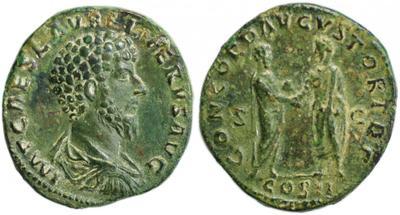 Sestercio de Lucio Vero. CONCORD AVGVSTOR TR P (II) /COS II /S C. 1448255.m