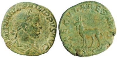 Sestercio de Filipo II. SAECVLARES AVGG. Alce de pie a la izquierda. Roma 1448356.m