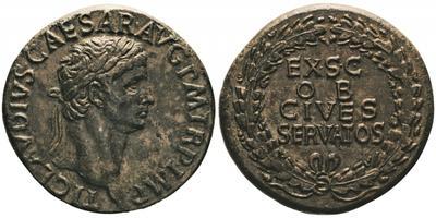 Sestercio de Claudio I. EX SC OB CIVES SERVATOS. Corona cívica de hojas de robles. Roma. 2261223.m