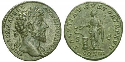 Sestercio de Marco Aurelio. SALVTI AVGVSTOR TRP XVII COS III. Salud a izq. Roma 2738678.m