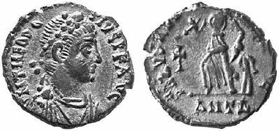 AE4 de Teodosio I. SALVS REI PVBLICAE. Antioquía 73835.m