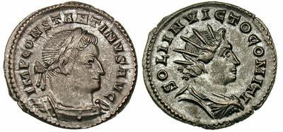 AE3 de Constantino I. SOLI INVICTO COMITI. Trier 386168.m
