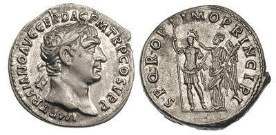 Denario de Trajano. SPQR OPTIMO PRINCIPI. Emperador coronado por victoria. Roma 713989.m
