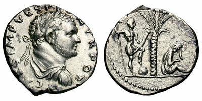 Denario de Tito. Tito y Judea sentada a dcha. debajo palmera. Ceca Antioch.  1487215.m