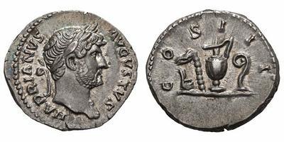 Denario de Adriano. COS III. Instrumentos sacerdotales. Roma 1830406.m