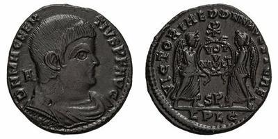 AE2 de Magnencio. VICTORIAE DD NN AVG ET CAE. Lyon 1830530.m