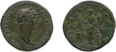 1/2 Sestercio de Adriano. HILARITAS P R / COS III /S C. 3734555.m