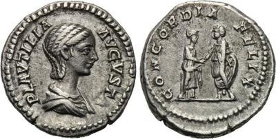 Denario de Plautila. CONCORDIA FELIX. Roma 1739652.m