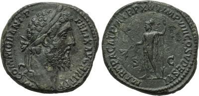 Sestercio de Cómodo. MART PACAT P M TR P XIIII IMP VIII COS V ....... Marte estante a izq. Roma. 1873101.m