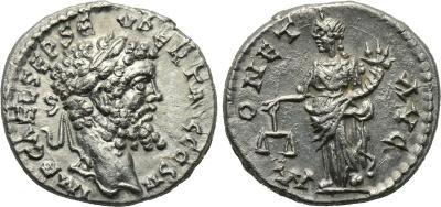 Denario de Septimio Severo. MONET AVG. Laodicea ad Mare 1873112.m