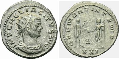 Aureliano de Tácito. CLEMENTIA TEMP. Marte a izq. Roma 1873229.m