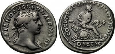 Denario de Trajano. COS V P P SPQR OPTIMO PRINC/ DAC CAP/. Roma 1905812.m