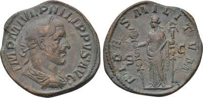 Sestercio de Filipo I El Árabe. FIDES MILITVM  S-C. Fides 1943924.m