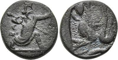 AE Bronce Jonia, acuñado durante la ocupación Aquemenida. Ca. 350-334 a.C. 2008324.m