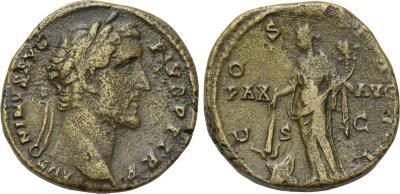 Sestercio de Antonino Pio. COS IIII / PAX - AVG. Paz a izq. Roma 2114291.m