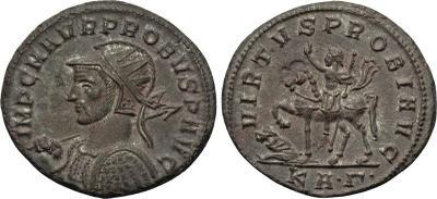Aureliano de Probo. VIRTVS PROBI AVG. Emperador a caballo y cautivo a izq. Sérdica 2200874.m