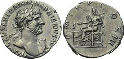 Denario de Adriano. P M TR P COS III. Salvs. Roma 2289273.m