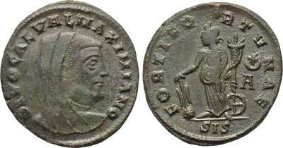Nummus de Galerio Maximiano. FORTI FORTVNAE. Fortuna estante a izq. Siscia. 2797295.m