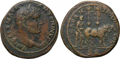 AE30 de Caracalla. CAE ANTIOCH COL / S R. Sacerdote con bueyes. Antioquía de Pisidia 3206634.m