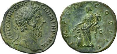 Sestercio de Marco Aurelio. IMP VIIII COS III P P / S C. Annona 3666133.m