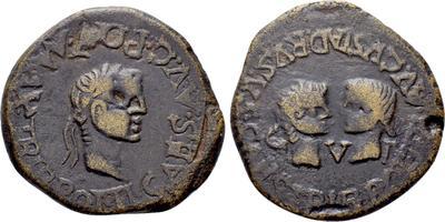 As de Tarraco, época de Tiberio. CAESARES GERMANICVS DRVSVS - C V T. Cabezas afrontadas de Germánico y Druso. 4681362.m