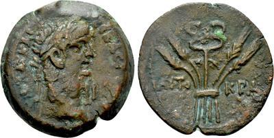 Óbolo de Claudio I. Caduceo y espigas. Alejandría  4681556.m