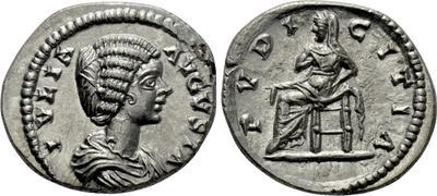 Denario de Julia Domna. PVDICITIA. Pudor sedente a izq. Laodicea ad Mare. 4739858.m