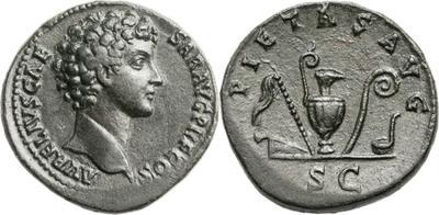 Sestercio de Marco Aurelio como cesar. PIETAS AVG. Instrumentos de sacrificio. Roma 1545490.m
