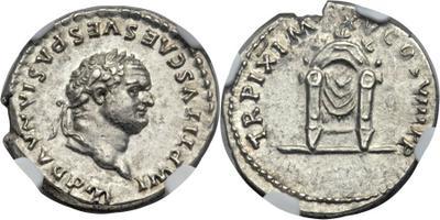 Denario de Tito. TR P IX IMP XV COS VIII P P. Trono de Júpiter. Roma  3026639.m