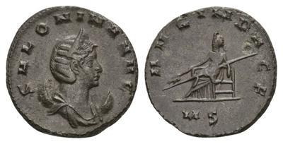 Antoniniano de Salonina. AVG IN PACE. Emperatriz sedente a izq. Milán 3114501.m