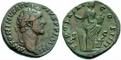 Sestercio de Antonino Pío. TR POT XXI COS IIII. Annona a dcha. Roma 298413.m