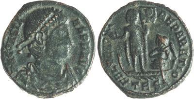 AE3 de Constante I. FEL TEMP - REPARATIO. Emperador sobre galera, 1724671.m