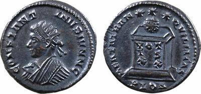 AE3 Radiado de Constantino II. BEATA TRANQVILLITAS. VOT / IS / XX. Lyon 541397.m