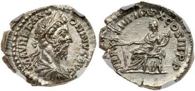 Denario de Marco Aurelio. TR P XXXIIII IMP X COS III P P. Fortuna sentada a izq. Roma 2611520.m