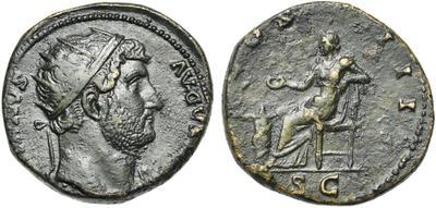 Dupondio de Adriano. COS III. Salud sedente a izq. Roma 7633448.m