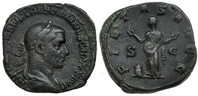 Sestercio de Volusiano o Treboniano Galo. PIETAS AVGG /S C 1874646.m