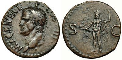As de Agripa. SC. Neptuno. Roma (acuñada por Calígula) 3680032.m