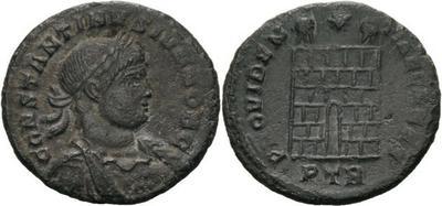 AE3 de Constantino II. PROVIDENTIAE CS. Trier, cuño no oficial. 2449722.m