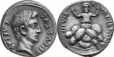 Denario de Augusto. TVRPILIANVS III VIR. Roma 129407.m