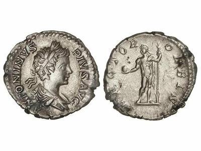 Denario de Caracalla. RECTOR ORBIS. Caracalla de frente. Roma 1257801.m